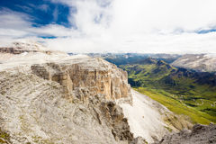 Pordoi pass mountain road valley and Piz Boe from the Sass Pordoi plateau in Dolomites, Italy, Europe Royalty Free Stock Images