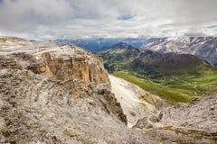 Pordoi pass road valley and Piz Boe in Dolomites, Italy Royalty Free Stock Image