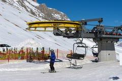 PORDOI, TRENTINO/ITALY - MARCH 26 : Chair Lift in the Dolomites Royalty Free Stock Photos