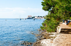 Porec, istria,克罗地亚在一个热的晴天 库存图片
