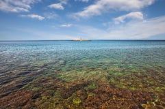 Porec, Istria,克罗地亚:亚得里亚海的海洋风景 免版税库存图片