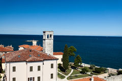 Porec Attractions. View from the church tower of Porec city, Croatia Royalty Free Stock Photos