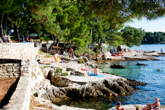 Porec coastline  on a hot sunny day Stock Photography