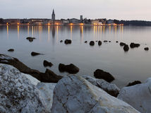 Porec in Croatia. Porec town in the evening after sunset, Istra, Croatia Stock Photo
