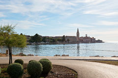 Porec, Croatia - July 6, 2016: View of beautiful Porec Old Town from sea Royalty Free Stock Photography