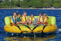 POREC, CROATIE - 10 AOÛT 2016 Plaisir les vacances de mer Photographie stock