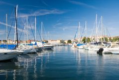Porec harbor. Small sailboats in a Porec harbor, Croatia Royalty Free Stock Photography