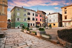 Porec, Istria, Croatia: ancient square in the old town royalty free stock photos