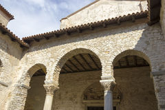 Porec on Istria peninsula. Euphrasian Basilica - UNESC Royalty Free Stock Photography