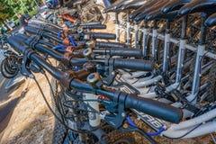 Porec, Kroatien am 29. August 2018: Fahrrad-Parken und Fahrradmiete in Sommer Porec im Freien lizenzfreie stockfotos