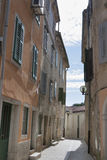 Porec narrow street in Croatia Stock Images