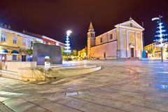 Porec street and square evening view. Town in Istria region of Croatia Stock Photo