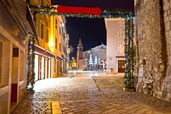 Porec street and square evening view. Town in Istria region of Croatia Stock Photos