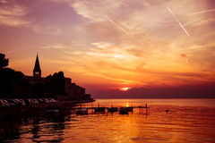 Porec View at Evening. Sea Background in Croatia. Stock Photography