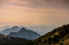 Pores do sol de Huangshan Fotos de Stock
