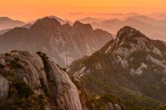 Pores do sol de Huangshan Imagem de Stock Royalty Free