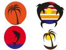 Pores do sol tropicais dos logotipos Imagens de Stock