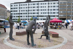 Pori. Finland. The sculpture group Market Place Parliament by Pertti Makinen. Market Square. Pori. Finland Royalty Free Stock Image