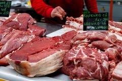 pork Ακατέργαστο κρέας στην αγορά στοκ φωτογραφία με δικαίωμα ελεύθερης χρήσης