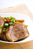 Pork. A Plate of Pork On Close-up Royalty Free Stock Image