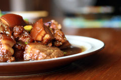 Pork. A plate of chinese style pork meat stock photography
