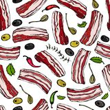 Pork Bacon, Herbs, Olives and Capers Seamless. Isolated On a White Background. Realistic Doodle Cartoon Style Hand Drawn Sketch Ve Stock Photography