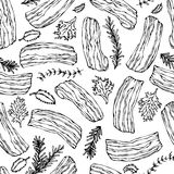 Pork Bacon and Herbs Seamless. Isolated On a White Background. Realistic Doodle Cartoon Style Hand Drawn Sketch Vector Illustratio Stock Images