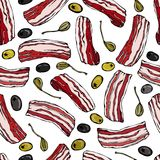 Pork Bacon, Olives and Capers Seamless. Isolated On a White Background. Realistic Doodle Cartoon Style Hand Drawn Sketch Vector Il Stock Photos