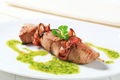 Pork and bacon skewer Stock Images