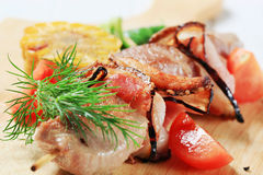 Pork and bacon skewer Royalty Free Stock Photography