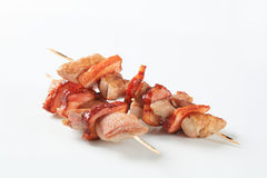 Pork and bacon skewers Royalty Free Stock Images