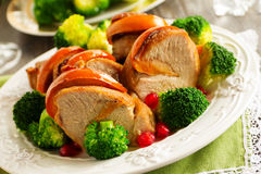 Pork baked with persimmons Stock Images