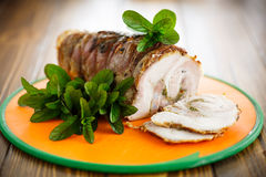 Pork baked with spices and mint Royalty Free Stock Photography