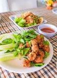 Pork ball lap spicy hot chili and sauce. On table Royalty Free Stock Image