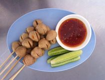 Pork ball. Thai street food with sweet sauce Royalty Free Stock Photos