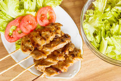 Pork Barbecue With Salad. Table Of  Pork Barbecue With Salad Royalty Free Stock Image