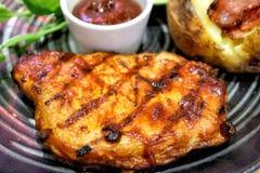 Pork Barbecue Steak Recipe. Close up Pork Barbecue Steak Recipe Royalty Free Stock Photos