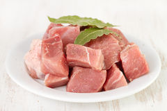 Pork with bay leaves Stock Image