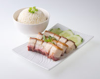 Pork. BBQ Pork and Crispy Pork and Rice Stock Photography