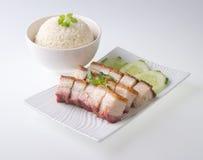 Pork. BBQ Pork and Crispy Pork and Rice Stock Photography