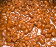 Pork and beans. Cooking in pot stock photography
