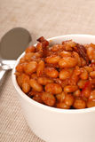 Pork and beans with bacon. Homemade BBQ pork and beans with bacon Stock Image