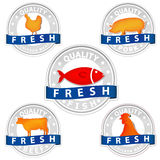 Pork beef chicken and fish quality meat sign. On white Stock Photos