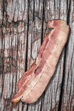 Pork Belly Bacon Rasher Set On Old Knotted Cracked Rough Pine Wood Table Surface Royalty Free Stock Images