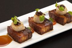 Pork Belly and Scallops Stock Image