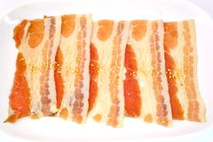 Pork belly slice isolate on white background Royalty Free Stock Image