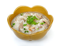 Pork with boiled rice isolated on white background Stock Photos