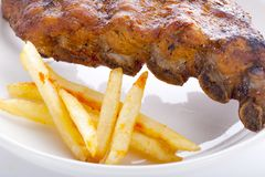 Pork bone with BBQ sauce.  royalty free stock photography