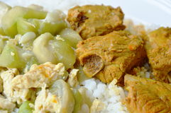 Pork bone curry and stir fried gourd with egg on rice Stock Image