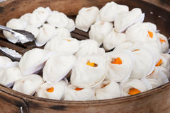 Pork buns ( Chinese food ). Pork buns in Steamed pot ( Chinese food royalty free stock photos